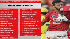 Punjab Kings full Squad
