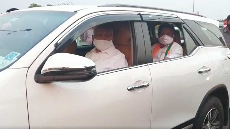 Election officers check CM BS Yediyurappa car